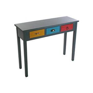 Console d 39 entr e multicolore avec tiroir patchos achat for Console avec tiroir meuble entree