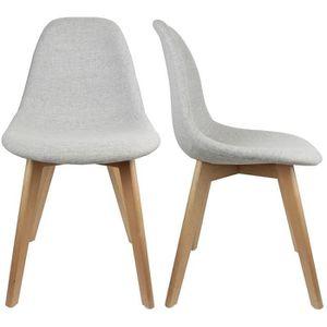 Chaises design gris pieds en bois achat vente chaises for Chaise bois gris