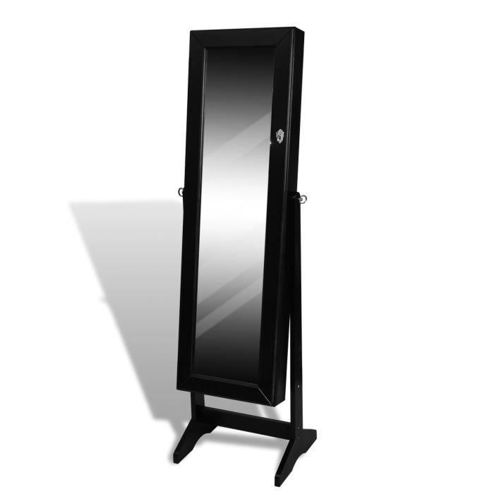 armoire bijoux miroir placard rangement noir achat vente commode de chambre armoire. Black Bedroom Furniture Sets. Home Design Ideas
