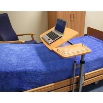 Table de lit r glable et inclinable avec tablette lat rale fixe h tre achat vente chevet for Lit et table de chevet