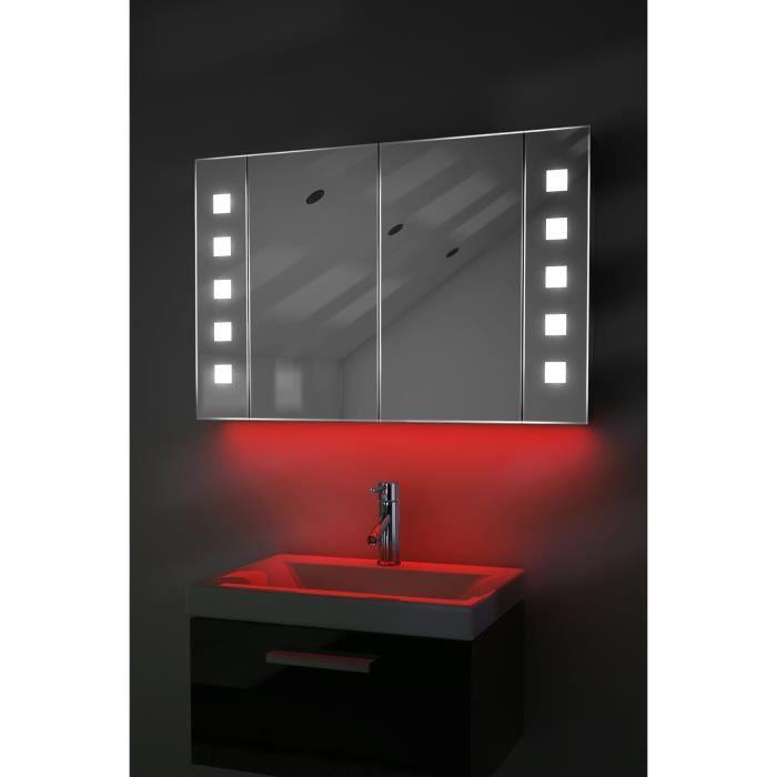 miroir de salle de bain avec capteur et prise rasoir interne k70r rouge taille l 600mm x l. Black Bedroom Furniture Sets. Home Design Ideas