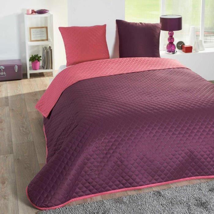 couvre lit 220x240 bicolore rose violet et 2 taies achat vente couverture plaid cdiscount. Black Bedroom Furniture Sets. Home Design Ideas