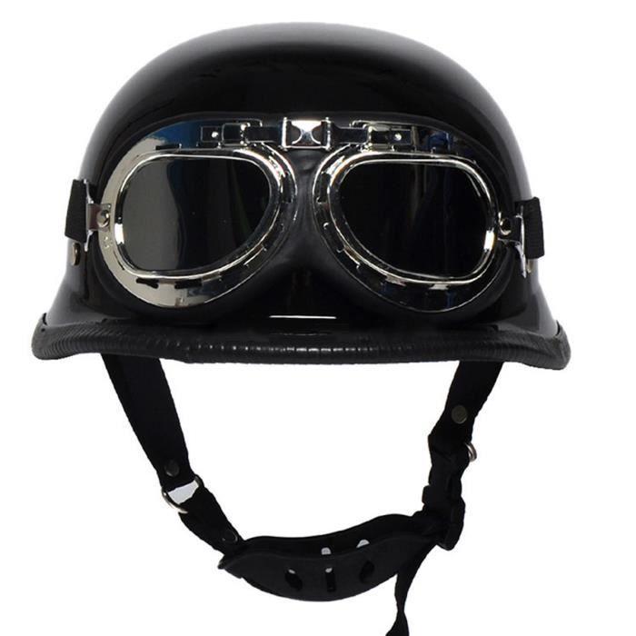 m l xl 3 taille vintage frais de moto casque avec lunettes noir brillant achat vente casque. Black Bedroom Furniture Sets. Home Design Ideas