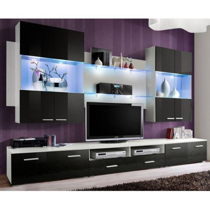 Paris prix meuble tv mural design space 300cm noir for Prix meuble tv
