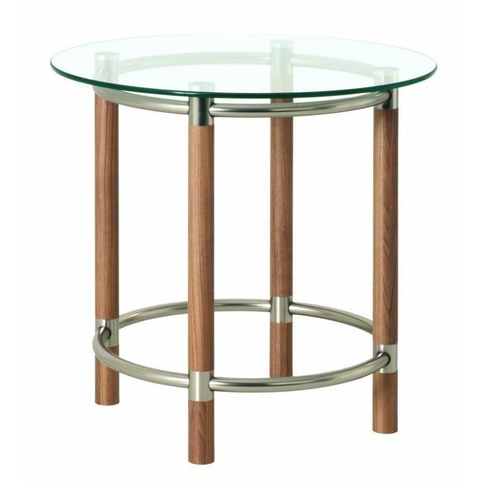Table d 39 appoint en tube d 39 acier coloris nickel satin Table d appoint reglable en hauteur