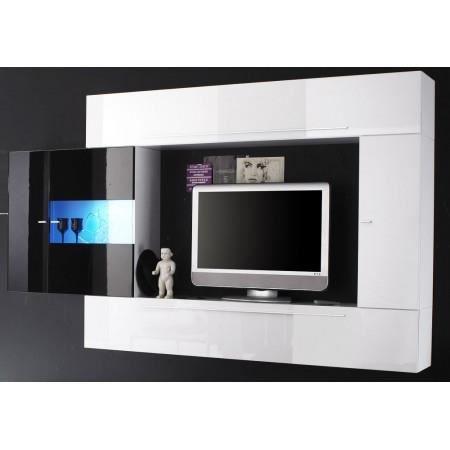 maison meubles mobilier ensemble meuble tv murale blanc noir laque a le f  roy