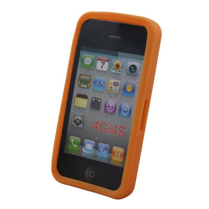 waytex 74148o coque silicone pour iphone 4 4s orange. Black Bedroom Furniture Sets. Home Design Ideas