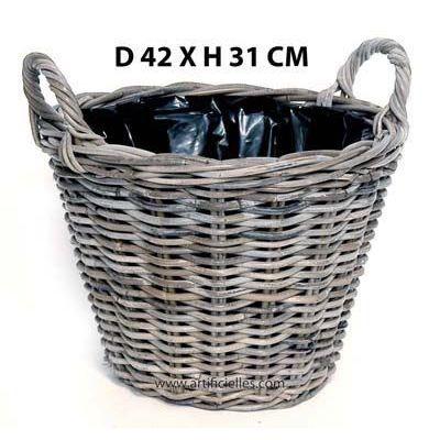 bac osier cache pot d42 cm h31 cm panier en osi achat vente jardini re pot fleur bac. Black Bedroom Furniture Sets. Home Design Ideas