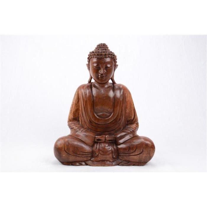 statue bouddha assis en position du lotus h40cm bois sculpt main achat vente statue. Black Bedroom Furniture Sets. Home Design Ideas