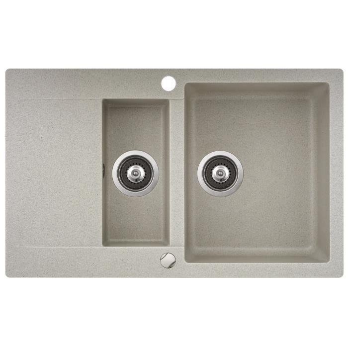 evier granit sable 1bac 1 vide sauce 1 gouttoir achat vente evier de cuisine evier granit. Black Bedroom Furniture Sets. Home Design Ideas
