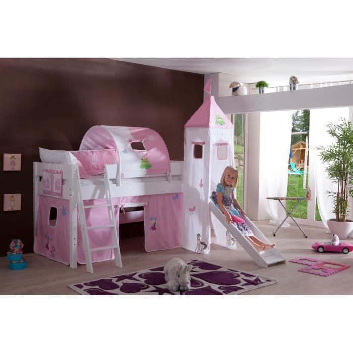 Lit sur lev avec toboggan design ch teau rose achat vente lit mezzanine lit sur lev - Lit chateau de princesse avec toboggan ...