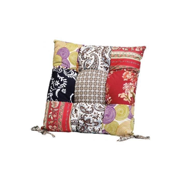 coussin de chaise patchwork fleuri 40x40 cm achat vente coussin de chaise cdiscount. Black Bedroom Furniture Sets. Home Design Ideas