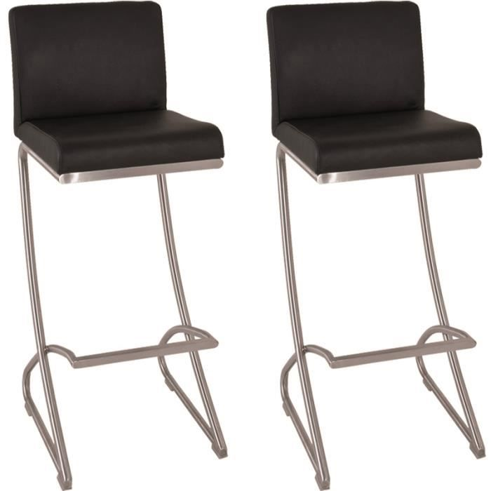 lot de 2 tabourets de bar en inox poli coloris achat vente tabouret de bar inox cuir. Black Bedroom Furniture Sets. Home Design Ideas