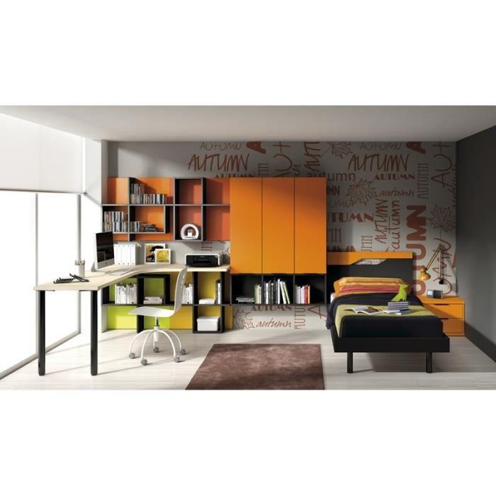 chambre mino avec lit bureau et biblioth que achat vente chambre compl te chambre mino avec. Black Bedroom Furniture Sets. Home Design Ideas