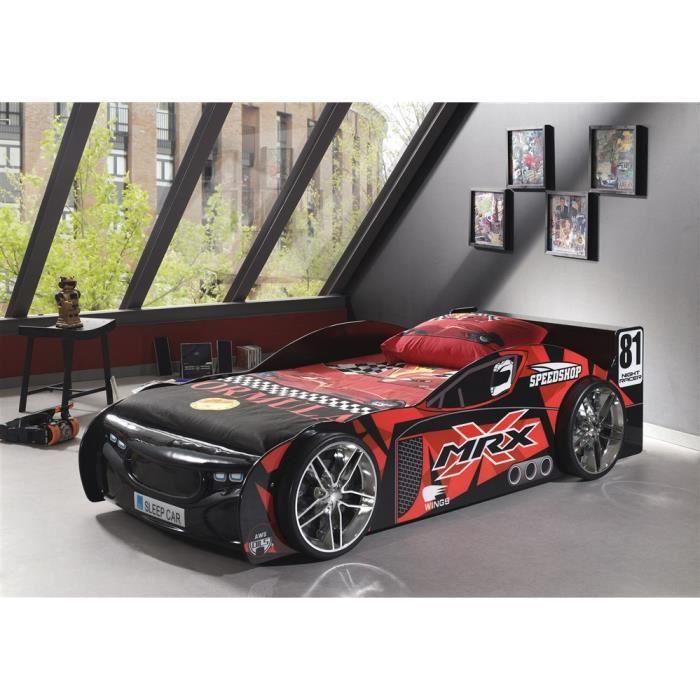 lit voiture mrx 90x200 rouge noir achat vente structure de lit cdiscount. Black Bedroom Furniture Sets. Home Design Ideas