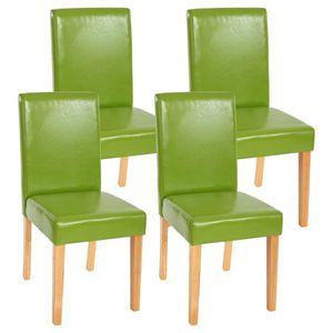 CHAISE Lot de 4 chaises de séjour Littau, PU, vert, pieds