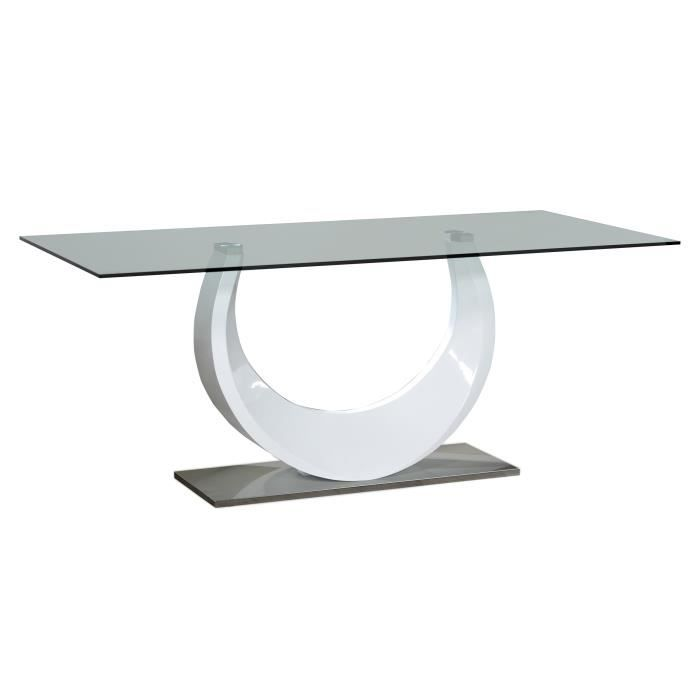 Smooth table manger 180x90 cm laqu blanc brillant for Table 180 x 85