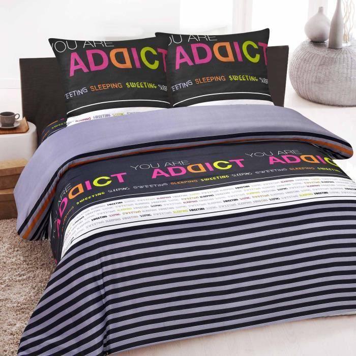 housse de couette 2 places microfibres douceur addict achat vente housse de couette. Black Bedroom Furniture Sets. Home Design Ideas