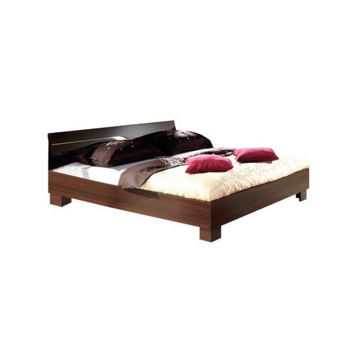 lit 140 x 190 couleur weng et beige mati re structure et fa ades en panneau de. Black Bedroom Furniture Sets. Home Design Ideas
