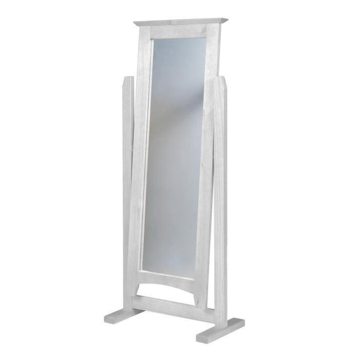 Miroir avec pied en pin massif coloris blanc lasure for Miroir avec pied