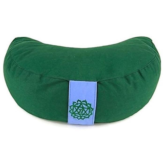 coussin de m ditation demi lune chakra 4 vert coton 33x13 cm prix pas cher soldes cdiscount. Black Bedroom Furniture Sets. Home Design Ideas