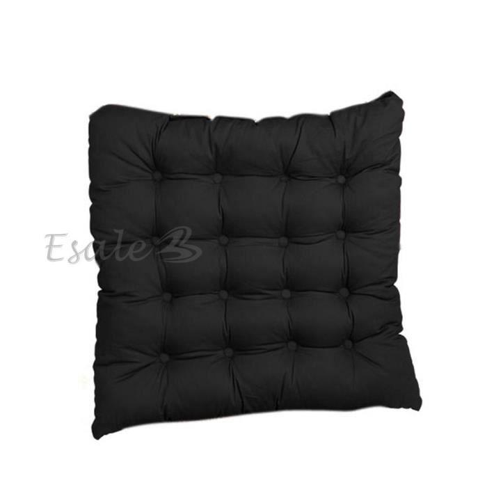 coussin galette dessus de chaise si ge fauteuil coton noir 42x42cm d co ma son achat vente. Black Bedroom Furniture Sets. Home Design Ideas