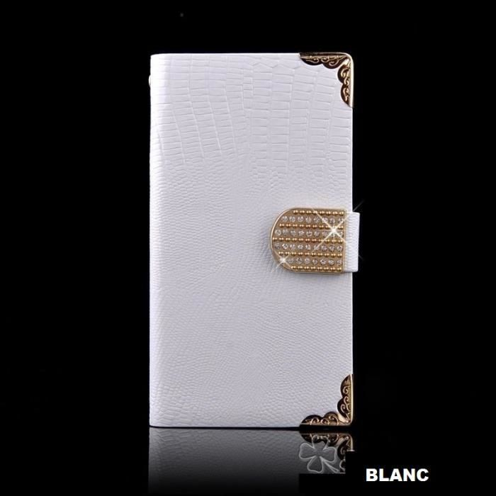 Tui housse blanc iphone 6 luxe croco diamant achat for Housse iphone 6 luxe