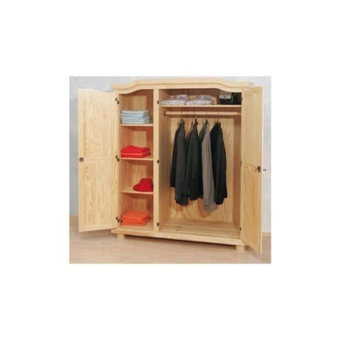 Armoire 3 portes en pin vernis naturel manille 3 achat vente armoire de c - Armoire en pin blanc ...