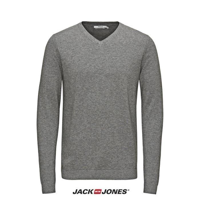 pull jack and jones lucas col v gris 12092895 gris achat. Black Bedroom Furniture Sets. Home Design Ideas