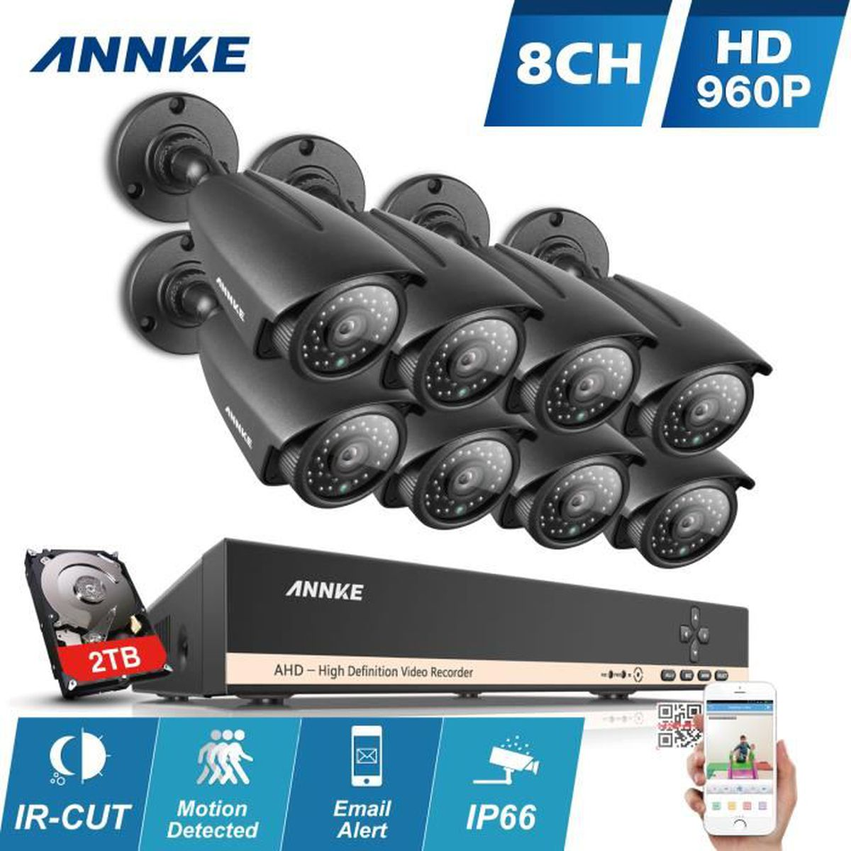 Annke kit cam ra de surveillance 8 ch dvr enregistreur for Disque dur exterieur