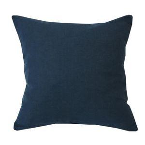 coussin carr uni bleu p trole lin et coton achat vente coussin cdiscount. Black Bedroom Furniture Sets. Home Design Ideas