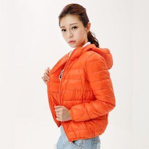 DOUDOUNE Doudoune Femmes Hood Mince Poids léger orange