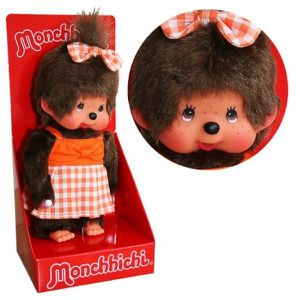 PELUCHE Kiki - Monchhichi - Peluche Fille avec robe orange