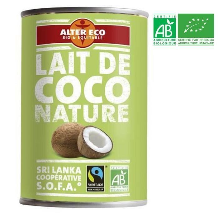 Alter eco lait de coco nature bio 400ml achat vente liant pour sauce alter eco lait de coco - Lait de coco bjorg ...