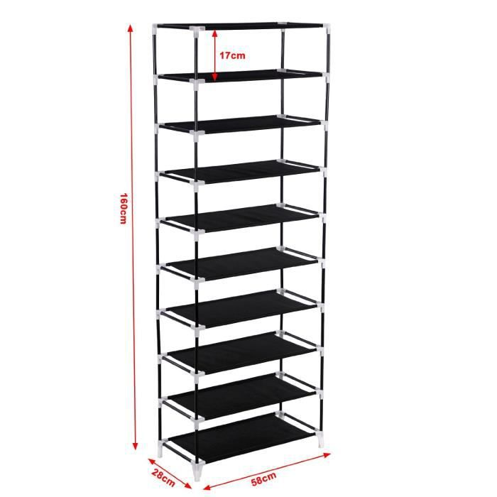 Armoire tag res chaussures 10 couches avec housse - Etagere rangement chaussures ...