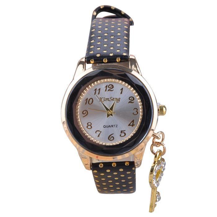 Bracelet montre quartz pu bande de cuir motif de points et de d coration en strass noir for Montre decoration