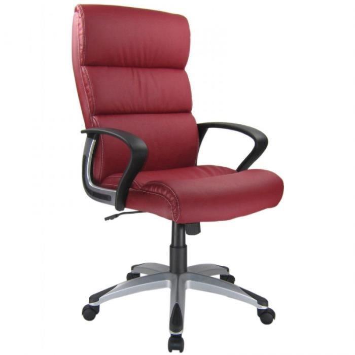 Fauteuil de bureau en pu rouge bordeaux hauteur r glable - Fauteuil bureau rouge ...