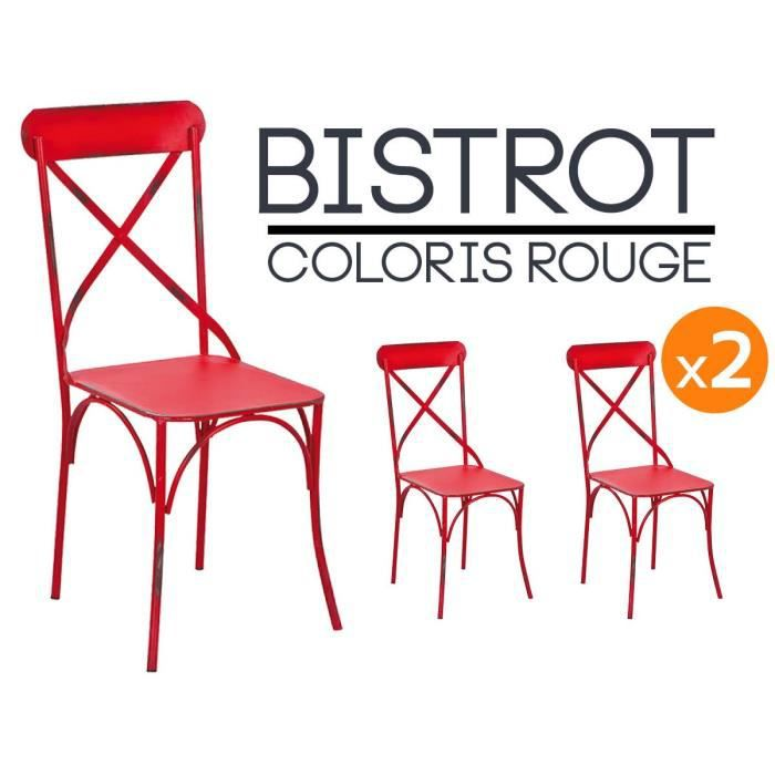 bistrot rouge lot 2 chaises bistrot achat vente chaise rouge cdiscount. Black Bedroom Furniture Sets. Home Design Ideas