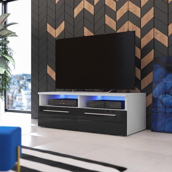 meuble tv siena blanc mat noir brillant avec led achat. Black Bedroom Furniture Sets. Home Design Ideas