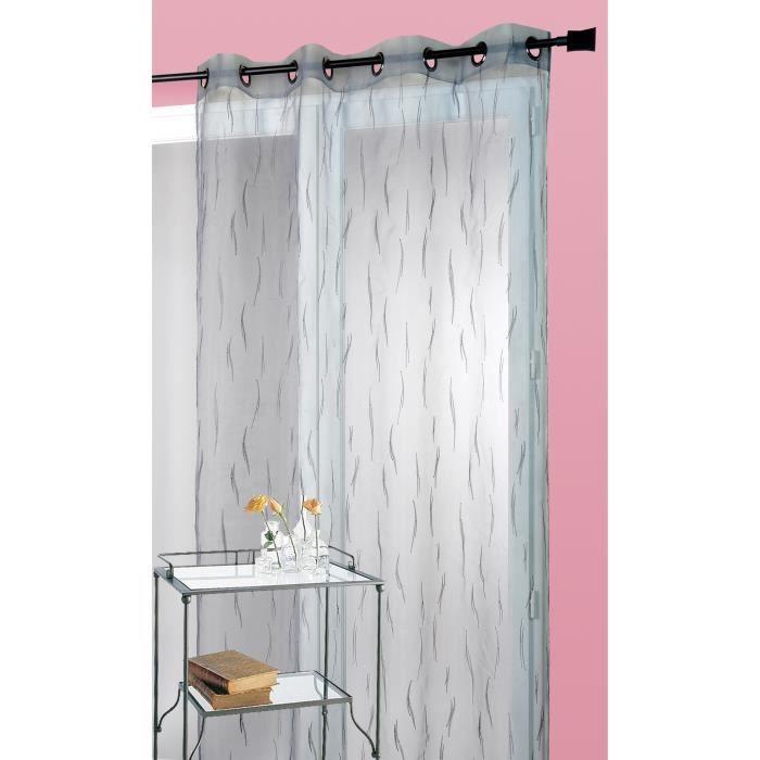 rideau gris brod motif brindilles gris 140x240 cm achat. Black Bedroom Furniture Sets. Home Design Ideas