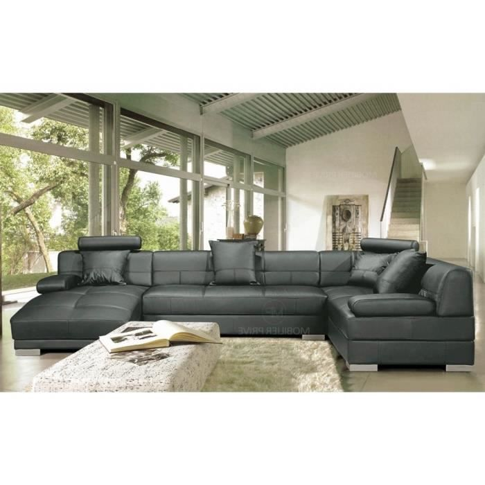 Canap d 39 angle en cuir italien 8 places napoli achat vente canap - Grand canape d angle 8 places ...