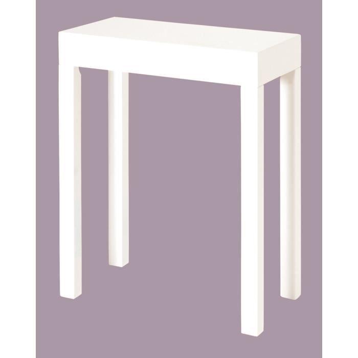 Table d 39 appoint en mdf laqu coloris blanc dim achat - Table d appoint laque blanc ...
