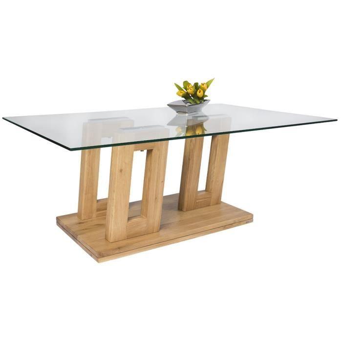Table basse en bois massif coloris ch ne sauvage avec for Table basse bois chene