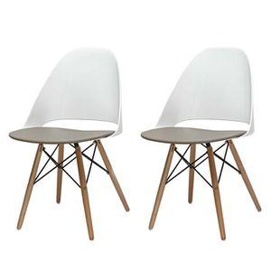 chaise blanche pied en bois - achat / vente chaise blanche pied en ... - Chaise Blanche Et Bois