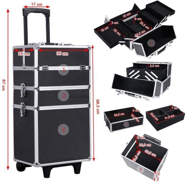 malette maquillage trolley 4 in 1 aluminium bo te. Black Bedroom Furniture Sets. Home Design Ideas