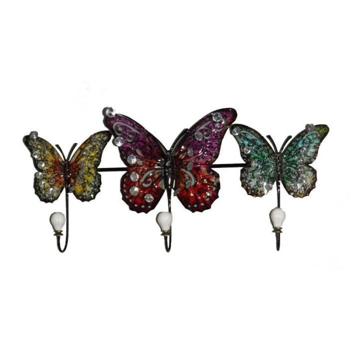 porte manteau mural m tal papillon 54 cm achat vente porte manteau cdiscount. Black Bedroom Furniture Sets. Home Design Ideas