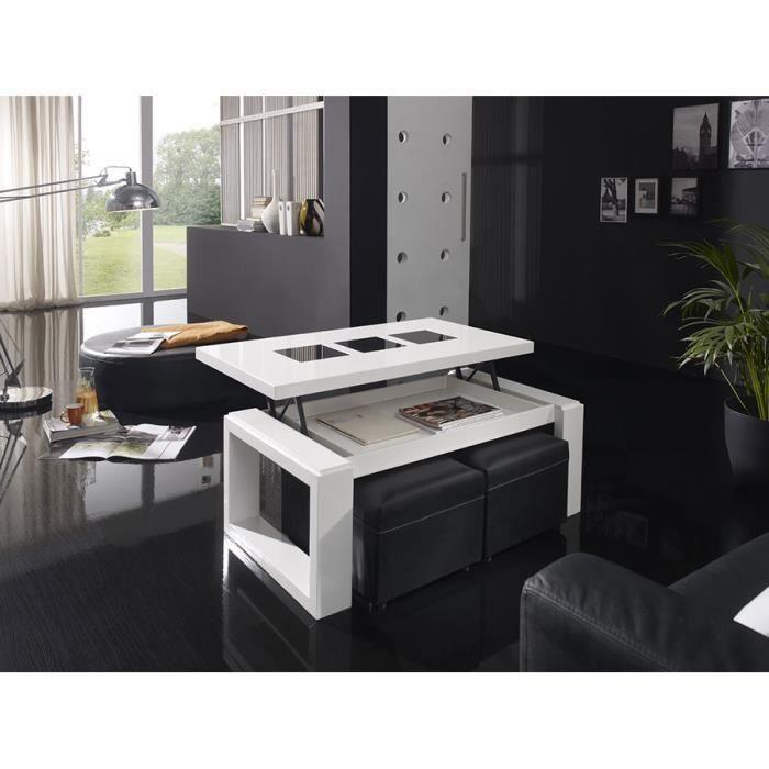 Table basse relevable blanc laqu brillant design candela - Table basse relevable design ...