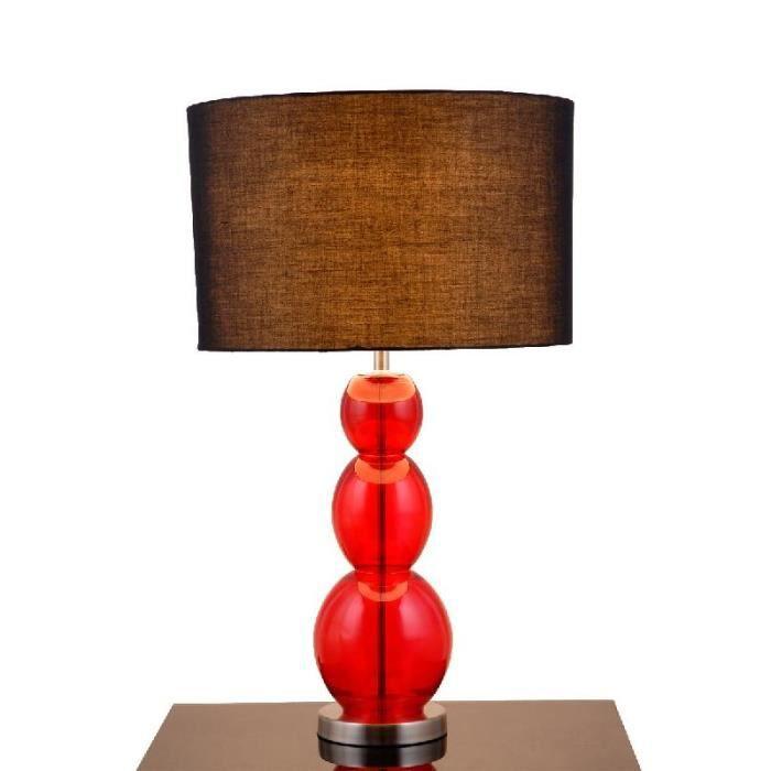 Lampe design poser boule en verre rouge col achat for Lampe a poser boule