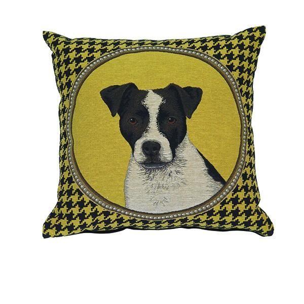 coussin t te de chien russell jaune 45 x 45 cm achat vente coussin cdiscount. Black Bedroom Furniture Sets. Home Design Ideas