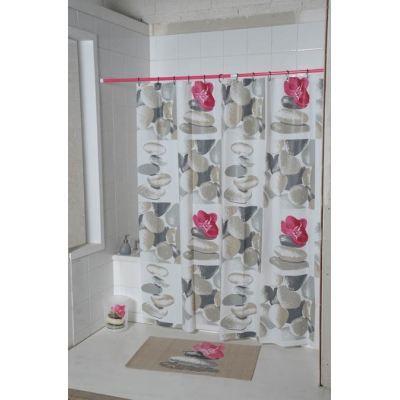 rideau de douche zen rose achat vente rideau de douche cdiscount. Black Bedroom Furniture Sets. Home Design Ideas